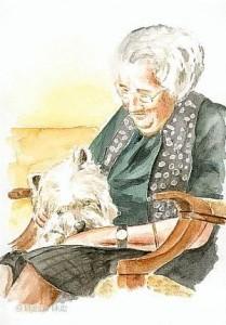 Alte Frau mit Hund - Marina Alice Mutz
